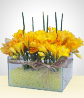 Alstroemerias - Glass Bowl  Flower Arrangement with yellow gel filling