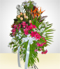 Crown Condolence Arrangement of Alstroemerias, Lilies and Roses