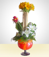 Alstroemerias - Iris Arrangement in a Glass Vase
