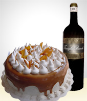 Gifts for Men - Delicious Cake + Red Wine