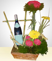 Gifts for Men - Carnation Arrengement with White Wine