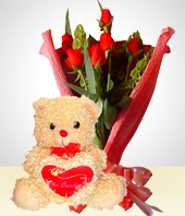 Special Combos Offer - Romance Combo: 6 Roses Bouquet + Teddy Bear