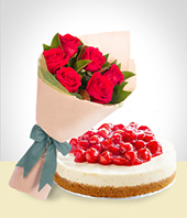 Special Combos Offer - Cheesecake + 6 Roses Bouquet