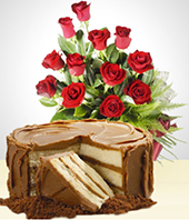 Special Combos Offer - Sweetness Combo: Cake + 12 Roses Bouquet