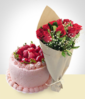 I'm Sorry... - Special Offer: Strawberry Cake + 6 Roses Bouquet