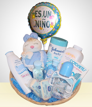 Welcome Baby Gift Bath Basket- Boys