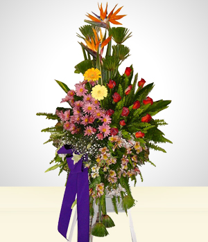 Condolence Flowers Arrangement with Roses & Gerberas in Tripod.