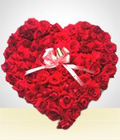 Flowers - Touch of Love: 24 Roses Heart