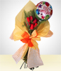 Detail Birthday: 6 Roses Bouquet +Happy Birthday Balloon