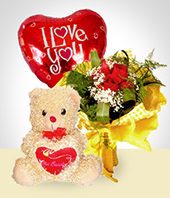 Roses - Tenderness Combo: 6 Roses Bouquet + Balloon + Teddy Bear