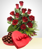 Roses - Perfect Match Combo: 12 Roses Bouquet + Chocolates