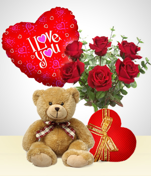 Special Combos Offer - Silver Valentine Combo: 6 Roses Bouquet + Balloon + Teddy Bear+ Heart Chocolate box