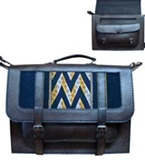 "Leather briefcase with ""Macha"" awayo applications"