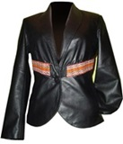 Leather jacket with awayo details