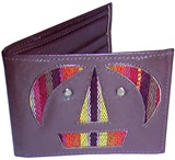 Leather wallet - Tiwanacu faces