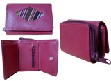Mini leather wallet with awayo - burgundy