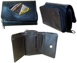 Mini leather wallet with awayo - black