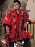 Red poncho - multicoloured stripes