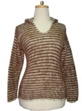 Striped Sweater (light brown)- rustic with hood