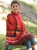 Poncho with Scarf - Red
