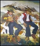 Couple of Musicians Dancing  with the Illimani as a background