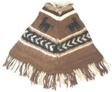 Brown Alpaca poncho - kids 3 to 7 years