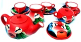 Tea set &#34Valley cholitas&#34 - red