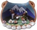 Nativity scene in ceramic pot - Polished