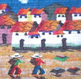 SMALL TAPESTRY - 2 NATIVE CHILDREN