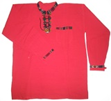 Shirt with awayo details- red