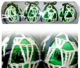 Christmas Adorments - Green Knitted Balls
