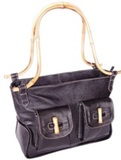 Llama leather purse &#39&#39Bamboo&#39&#39 - Black