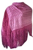 Cholita shawl with silk macramé - Purple