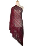 Silk shawl with Macramé - Burgundy
