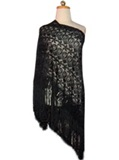 Silk shawl with Macramé - Black