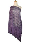 Silk shawl with Macramé - Purple