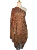 Silk shawl with Macramé - Brown