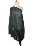 Silk shawl with Macramé - Green