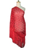 Silk shawl with Macramé - Red