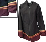 Jacket with awayo for women - burgundy stripe
